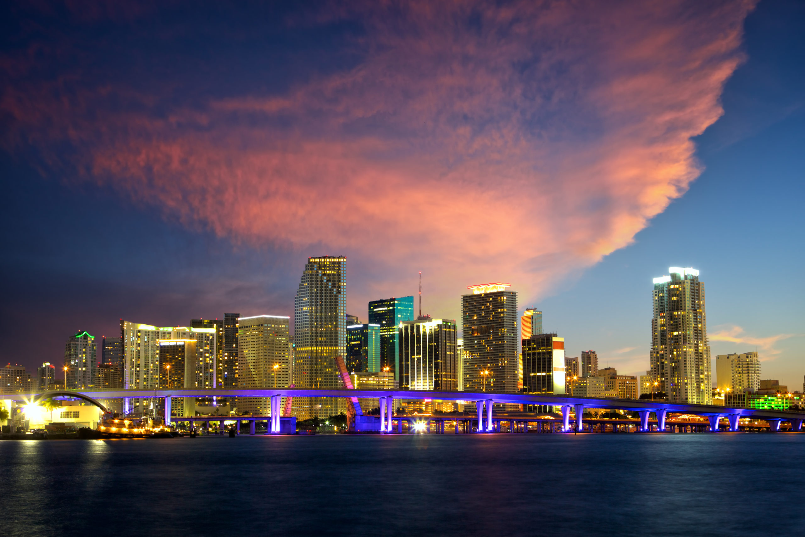 Downtown Miami skyline at dusk, Florida, US