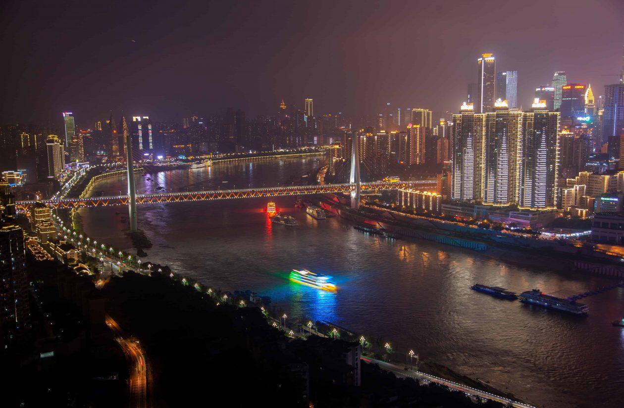 night yangtze river among chongqing city in china SDP4Y8J