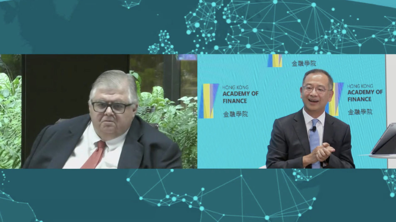 BIS general manager Agustin Carsten and Hong Kong Monetary Authority chief executive Eddie Yue speaking at a virtual event hosted by the ong Kong Academy of Finance