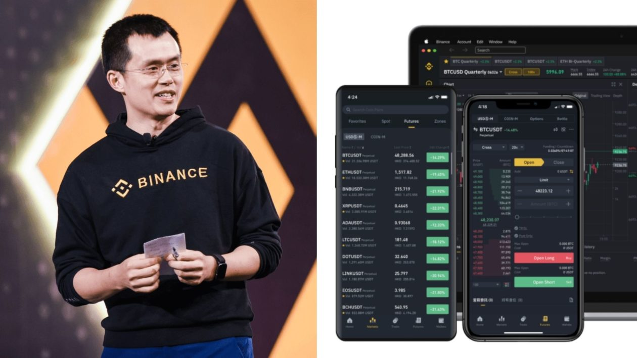 Binance CEO Changpeng Zhao (CZ) and Binance app