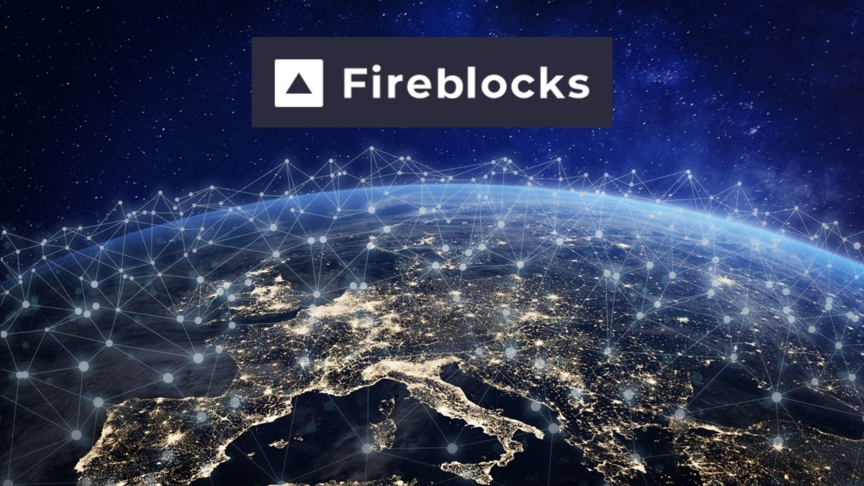 Fireblocks logo with earth and interconnected blockchains as background