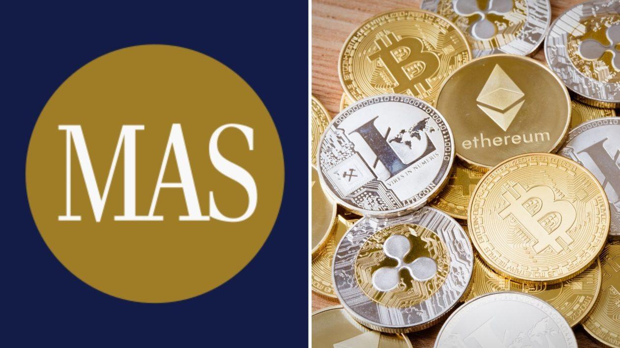 Monetary Authority of Singapore (MAS) logo and cryptocurrencies