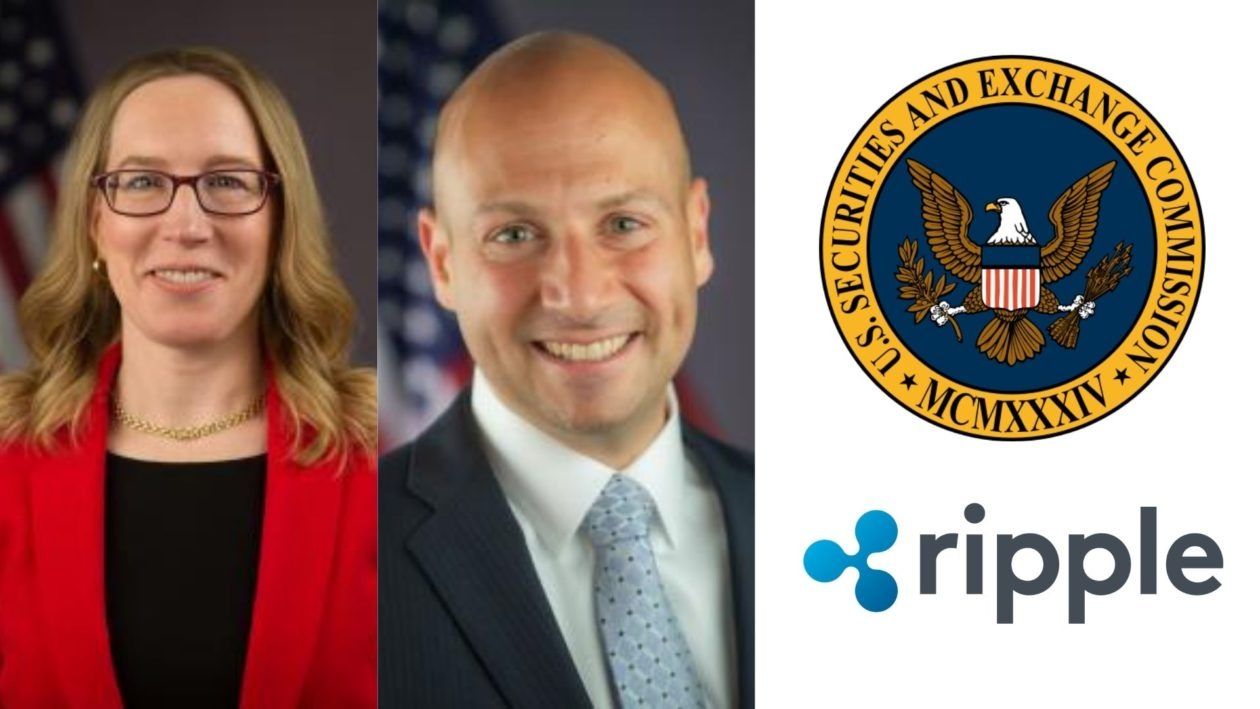 SEC commissioners Hester Peirce and Elad Roisman, SEC and Ripple logos