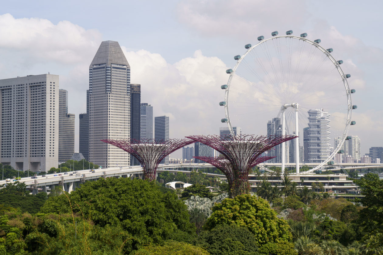 A view of Singapore's financial center and Gardens by the Bay.