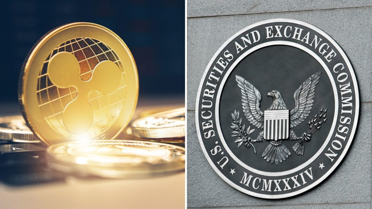 XRP cryptocurrency and U.S. Securities and Exchange Commission logo on the building