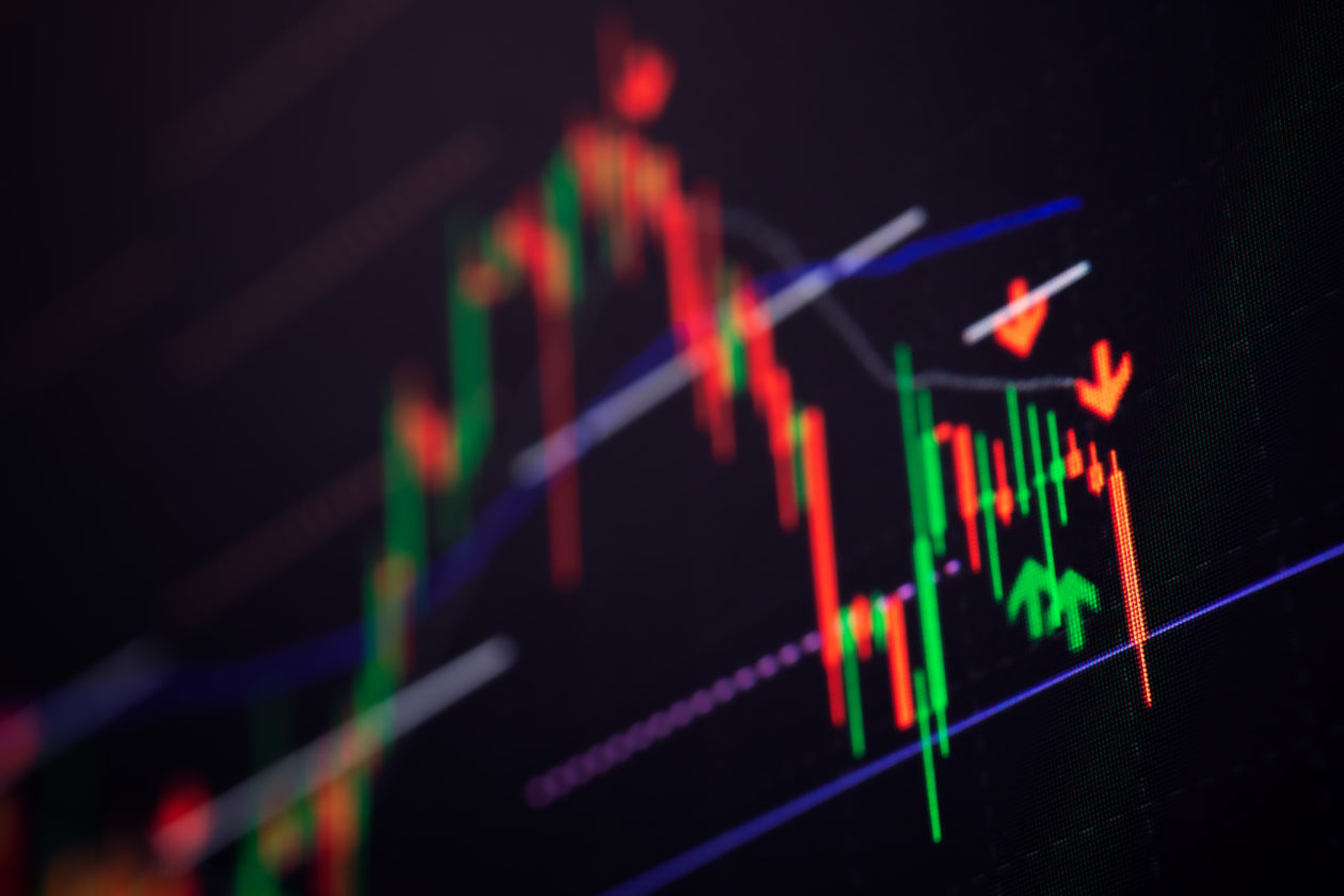 Background of Stock market graph chart on LED display. Trading concept