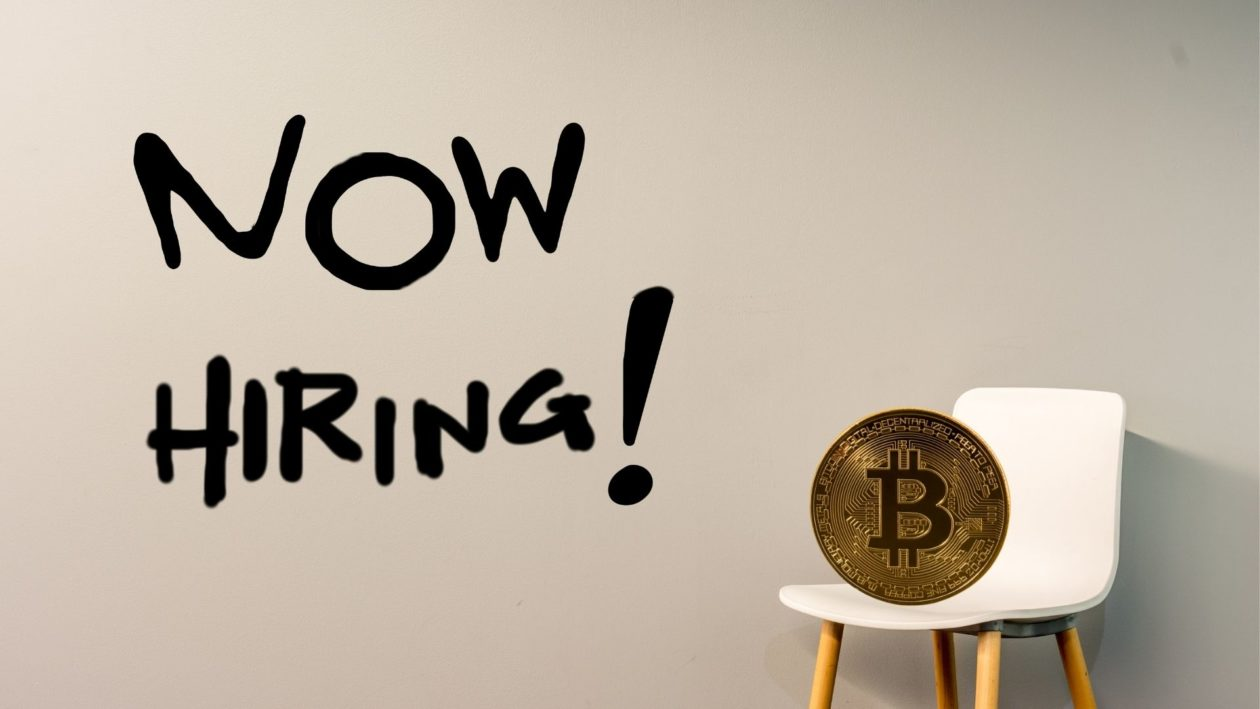 Now hiring in words, chair with a bitcoin