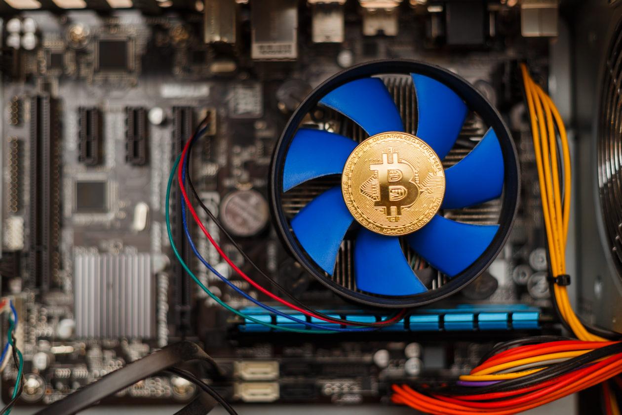 Bitcoin money on computer