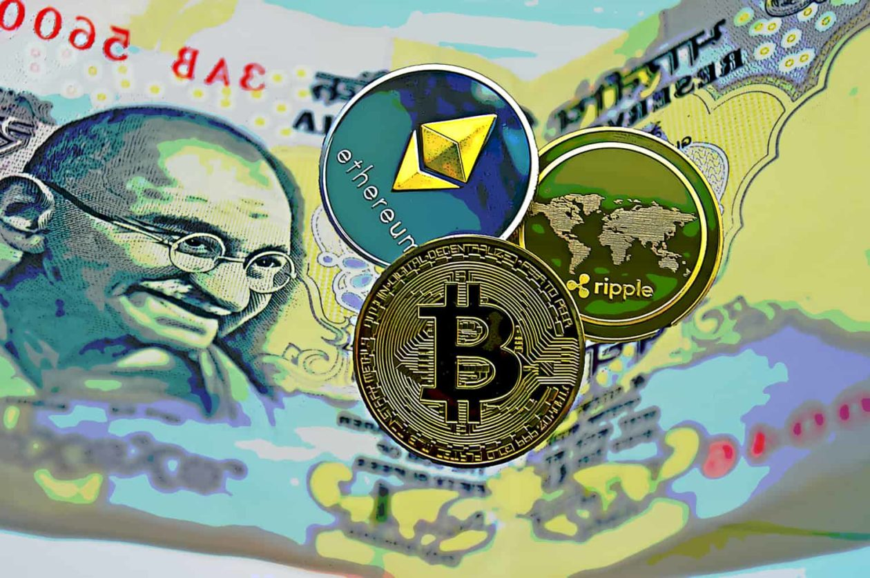 India clarities crypto levy; a picture of Indian Rupee with Bitcoin, XRP and Ethereum