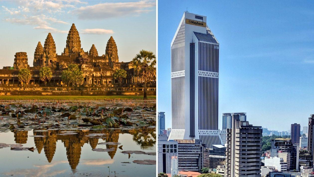Angkor Wat in Cambodia and Maybank building in Kuala Lumpur Malaysia