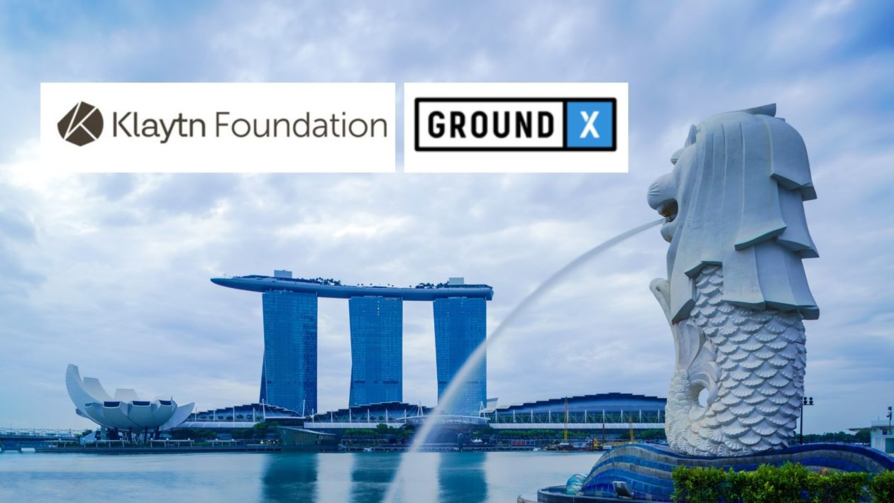 Kakao's Klaytn Foundation and GroundX logos with Singapore Merlion and Marina Bay Sands