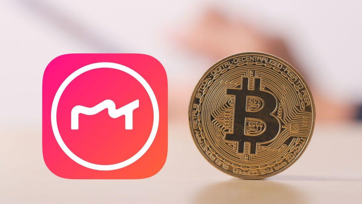 Meitu logo and Bitcoin cryptocurrency