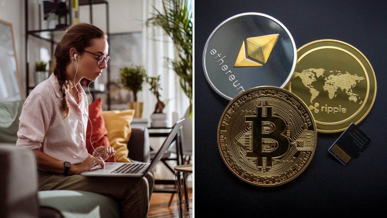 Person working on a laptop, Bitcoin, Ethereum and Ripple XRP cryptocurrencies