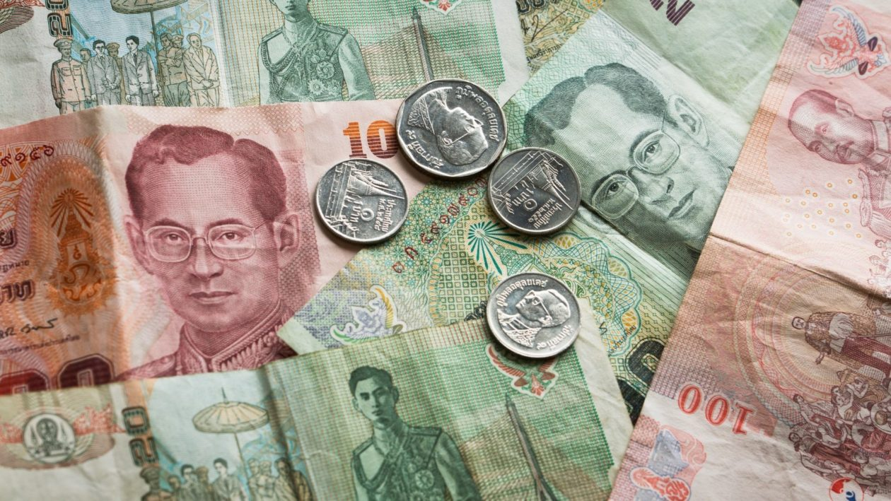 Thai currency notes and coins