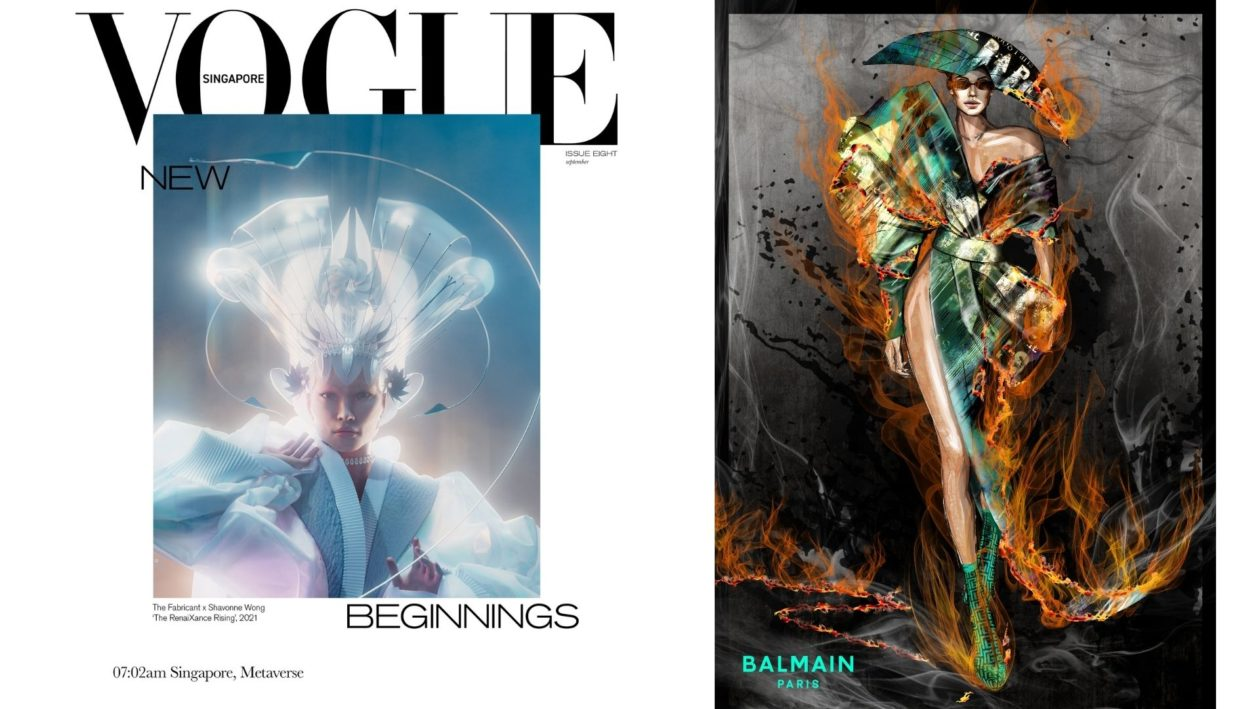 From left to right: 'The RenaiXance Rising' by The Fabricant and Shavonne Wong; Olivier Rousteing's sketches of the 'Flame Dress'