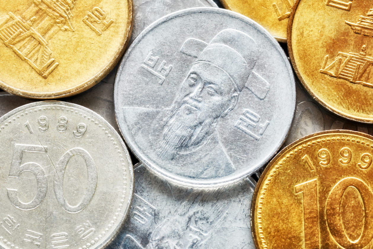 Extreme close up picture of South Korean won coins, shallow depth of field.