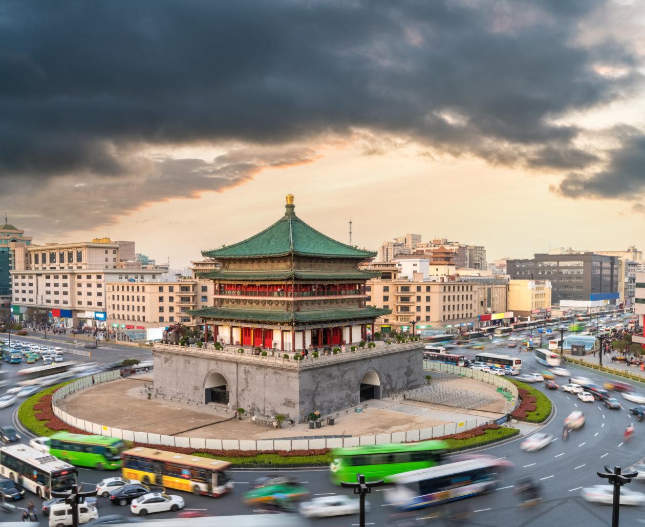 xi'an bell tower at dusk, Xi'an cabs pilot digital RMB as fare