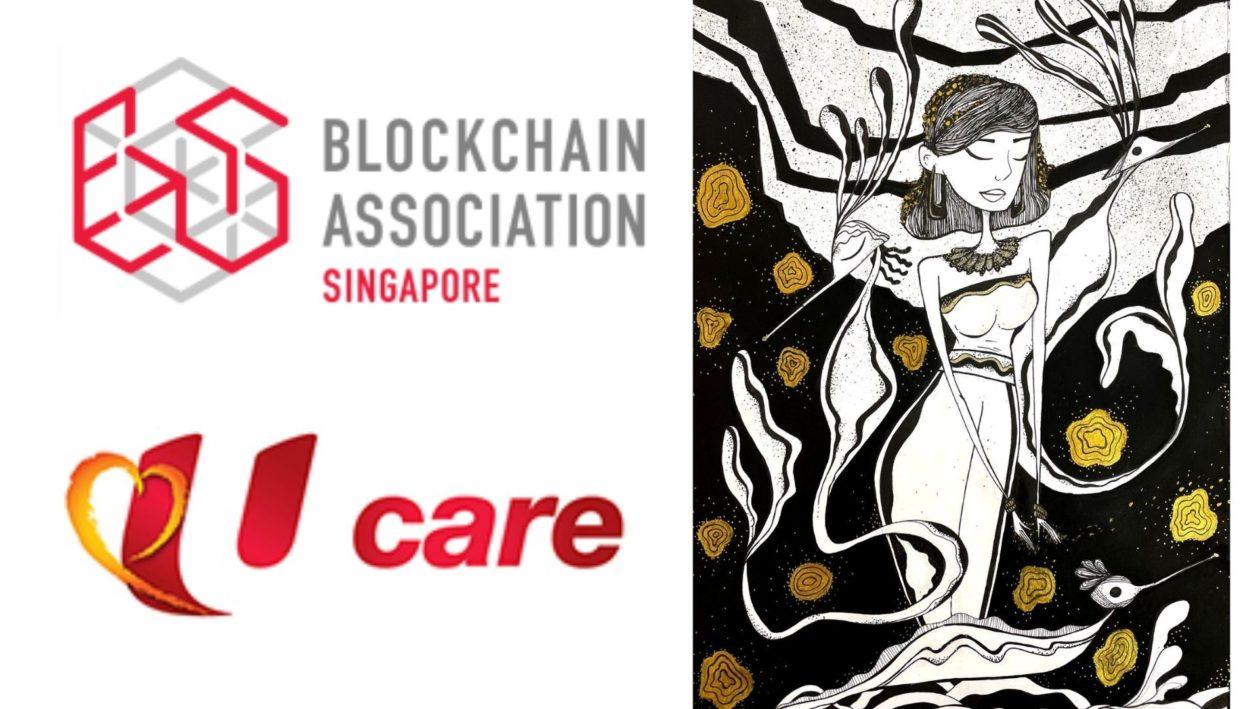 "BAS and NTUC-U-Care logos. One of the auction NFTs titled ""'Protectors of the Soul"" contributed by Yang Amat Mulia Pengiran Anak Hamlatul Arsy Mulia, daughter of HRH Prince Haji Sufri Bolkiah."