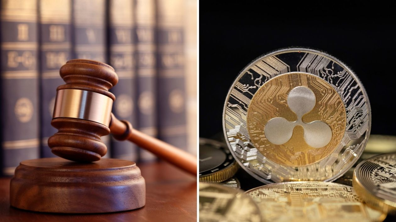 A gavel and XRP cryptocurrency