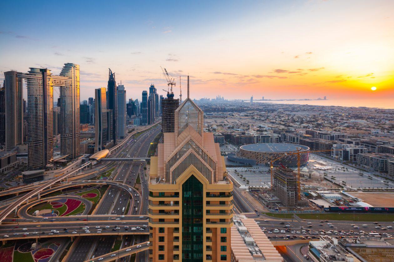 Dubai panorama at sunset, UAE