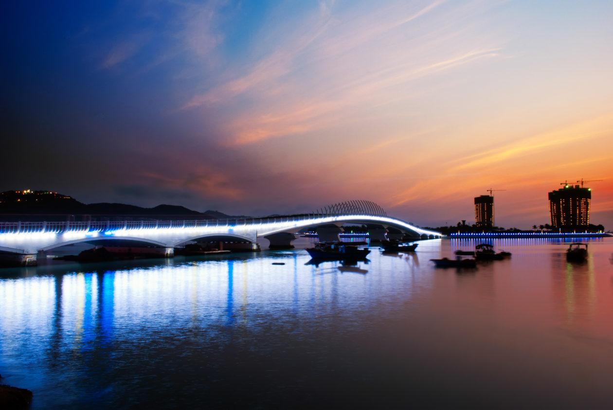 Sunset glow in Sanya, the capital city of Hainan province