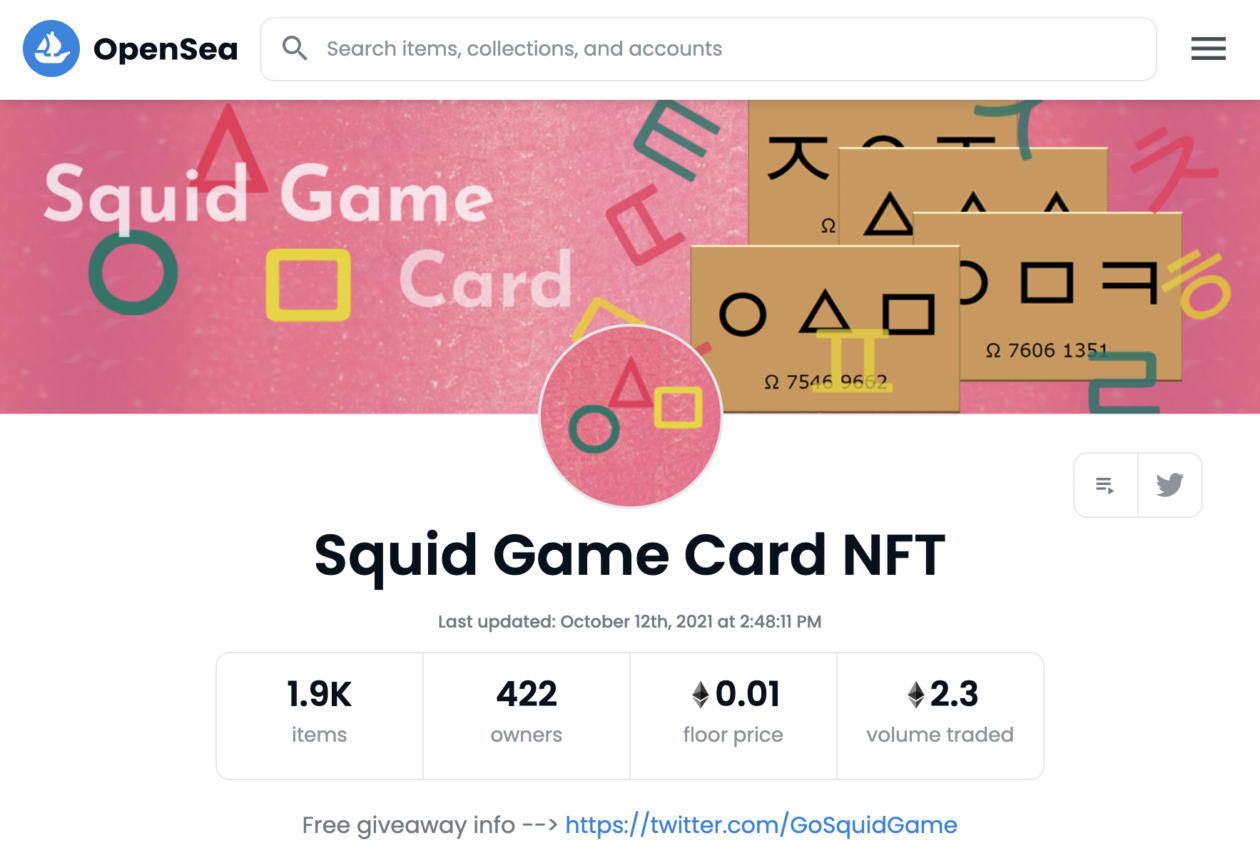 'Squid Game' card NFT page on OpenSea   Netflix show Squid Game NFTs being traded on OpenSea