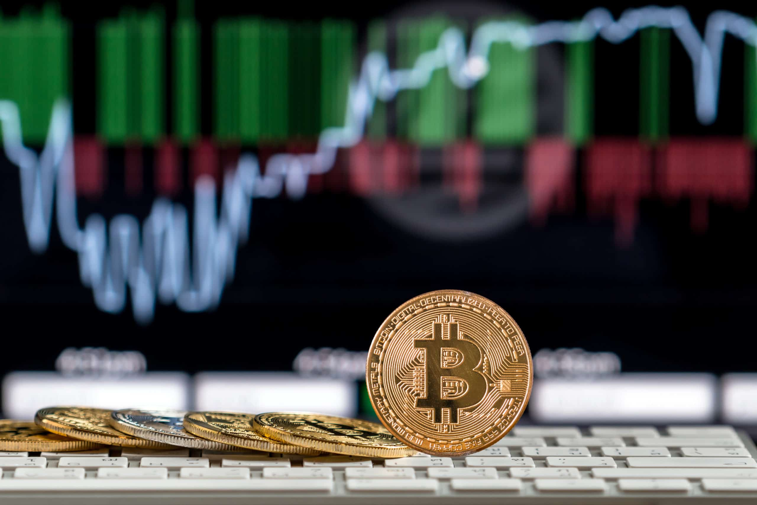 BTC against background of crypto trading graph